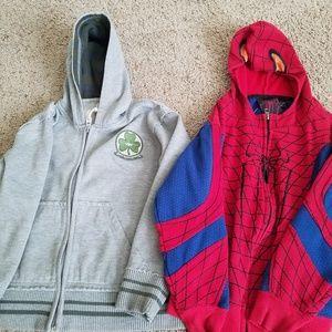 Other - 2 hooded sweatshirts size 5-6 spiderman